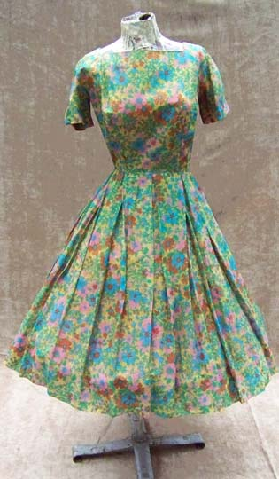 vintage 50s printed silk dress