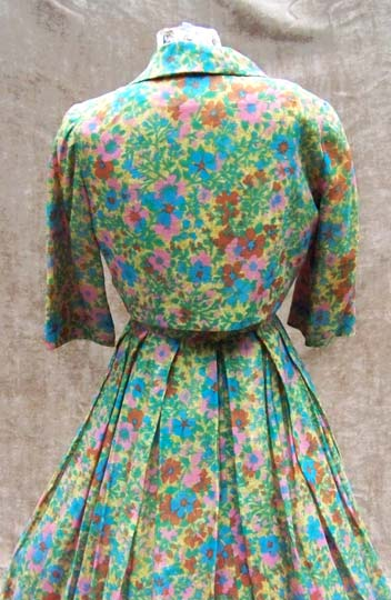 vintage 50s pleated silk dress