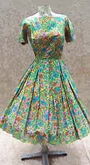 vintage 50s printed silk chiffon dress
