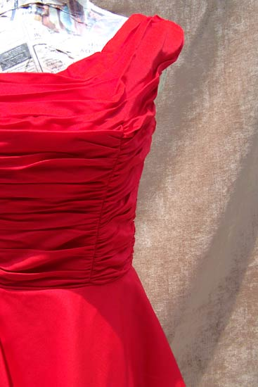 vintage 50s red ruched evening dress