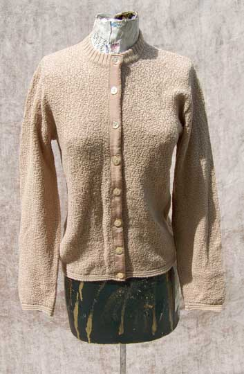 vintage 50s mad men tan boucle cardigan