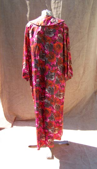 vintage 50s red floral dressing gown