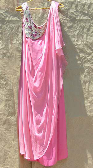 vintage 60s beaded neo-classical pink gown