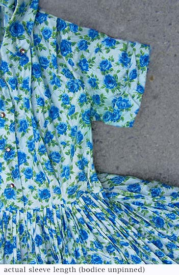 Vintage Blue-rose-printed dress, late 1950s to mid 1960s | deadlyvintage.com :  blue dress vintage clothing