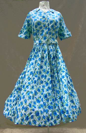 vintage 50s floral cotton dress