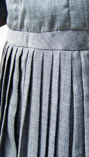 vintage 50s grey pleated dress