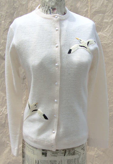 Vintage Seagull-embroidered cardigan, late 1950s to mid 1960s | deadlyvintage.com :  wool seagull cream vintage