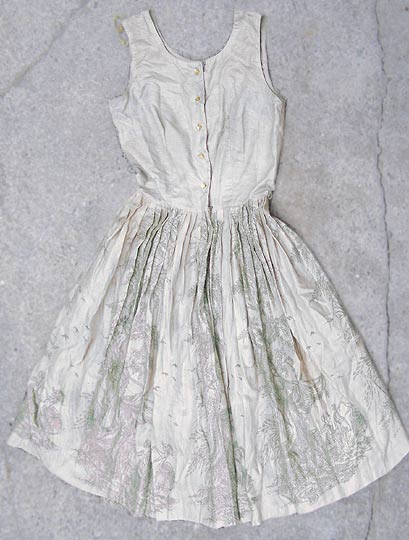 vintage sheer silvery ballerina dress with toile-printed skirt, late 1950s to mid 1960s | deadlyvintage.com :  transparent vlv marie antoinette grey