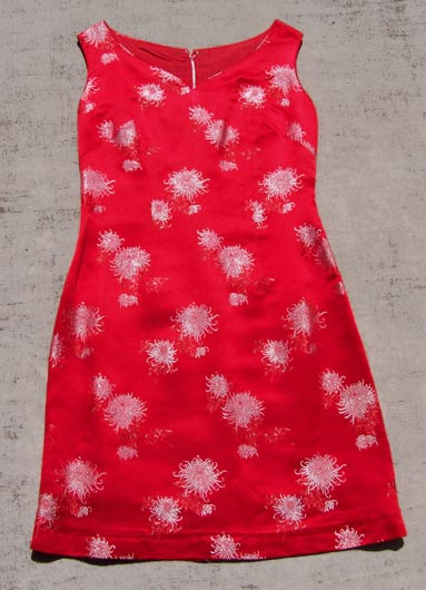 vintage red brocade silk dress