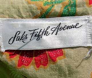 60s Saks 5th Ave label