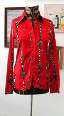 vintage 70s disco glossy red shirt