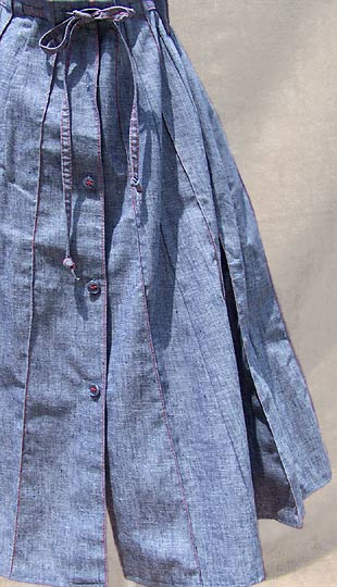 vintage 70s pleated chambray skirt