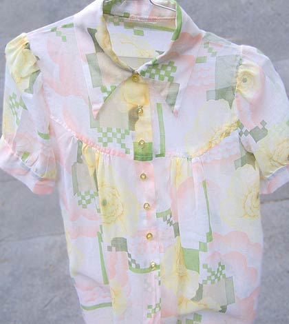 vintage 60s rosemarys baby chiffon top