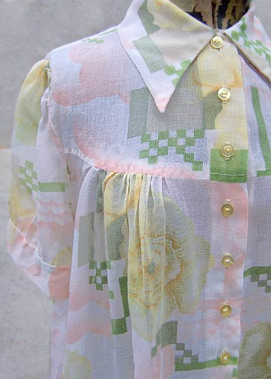 Vintage Checkered gauze shirt, late 1960s to mid 1970s  |  deadlyvintage.com :  indie maternity youthquake boho