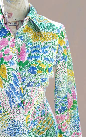 Vintage Herman Geist transparent shirt, late 1970s to early 1980s | deadlyvintage.com :  floral clothing white sheer