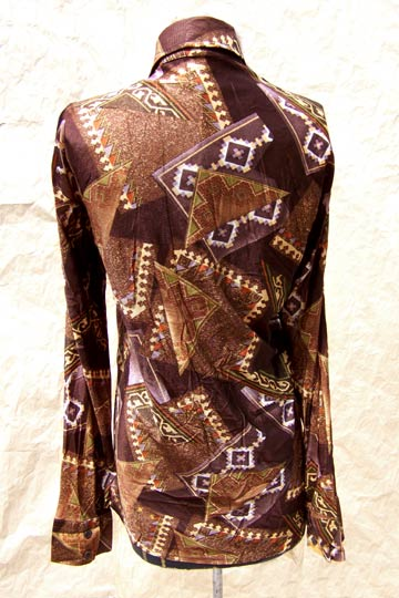 Vintage Indian-Blanket-print shirt, late 1960s to mid 1970s |  deadlyvintage.com :  menswear brown vintage metallic