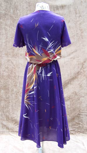 vintage 70s 80s waterfall sleeve dress