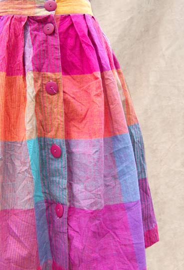 vintage 80s rainbow madras skirt