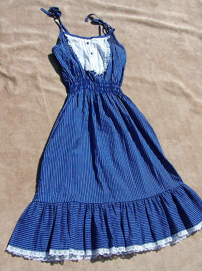 Vintage ruffled pinstripe sundress, late 1970s to early 1980s | deadlyvintage.com :  blue vintage clothing nautical