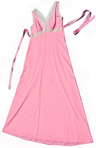 60s Vanity Fair pink lace nightgown