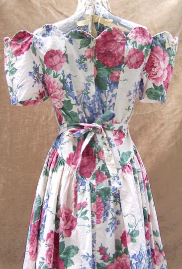 Vintage retro-50s, off-the-shoulder, English-florals tea dress, mid to late 1980s | Shop retro-40s influence-1980s MTV-neo-victorian styles | deadlyvintage.com