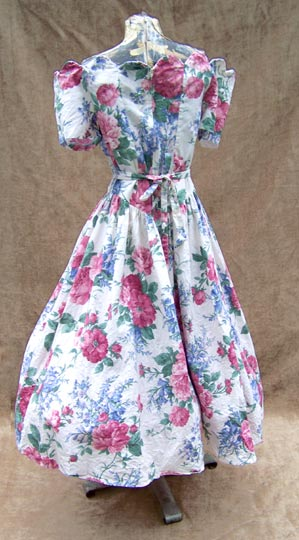vintage 80s 40s-inspired peony tea gown
