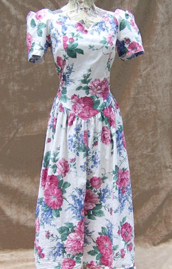 vintage 80s retro large florals dress