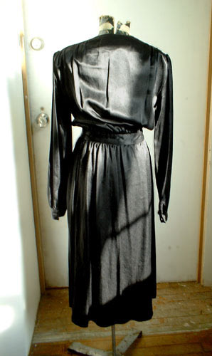 vintage 70s black wrap dress