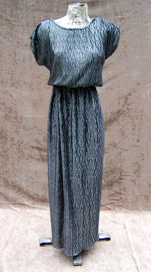 vintage 80s glam silver gown