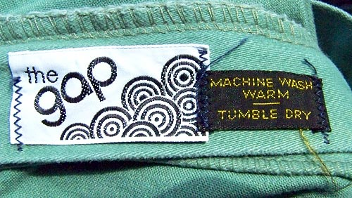 vintage early 70s Gap label