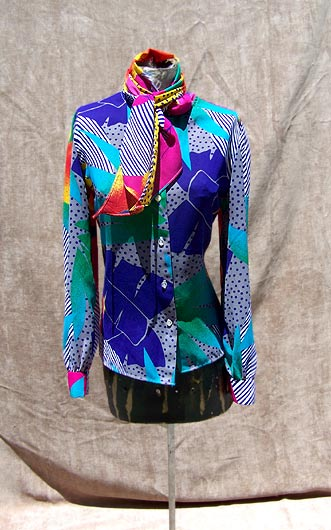 vintage 80s tie neck top
