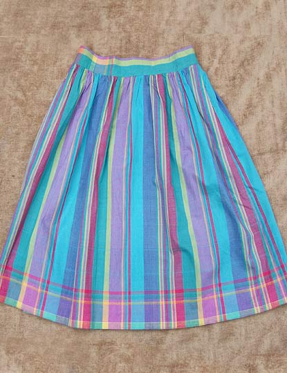 vintage color-striped madras skirt, late 1970s to early 1980s | deadlyvintage.com from deadlyvintage.com