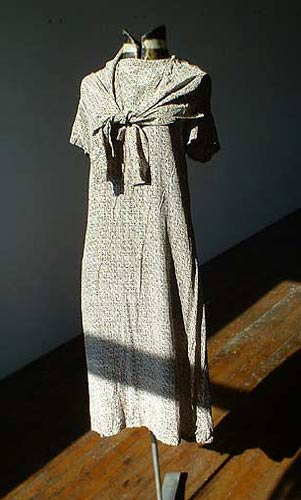 Vintage designer Evan-Picone basket-weave dress & scarf, late 1970s to early 1980s | deadlyvintage.com :  printed brown vintage scarf