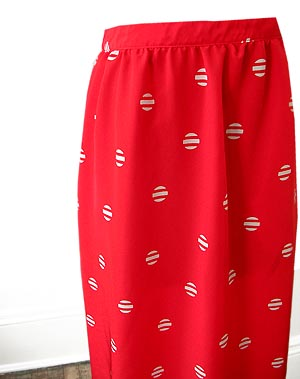 vintage 80s red skirt