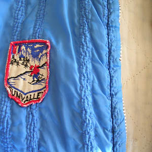 vintage quilted blue jacket