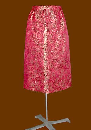 vintage red brocade skirt