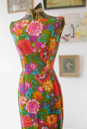 vintage psychedelic floral dress