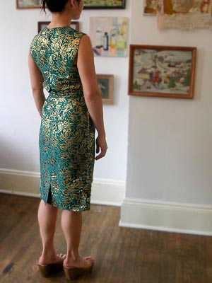 60s fitted brocade dress