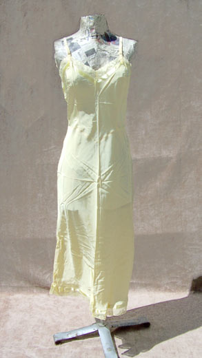 vintage 40s swing yellow rayon slip dress