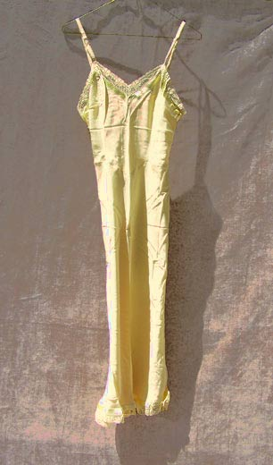 vintage 40s swing yellow rayon slip