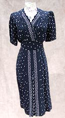 vintage 40s swing navy scalloped dress