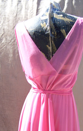 vintage 50s VF pink chiffon nightgown
