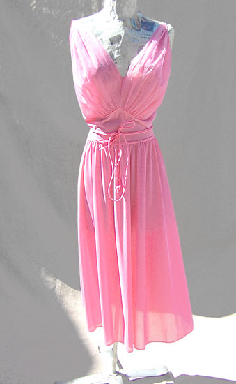 vintage 50s pink chiffon nightgown