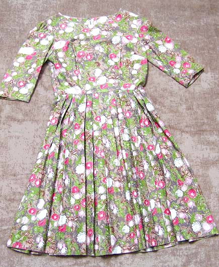 vintage 50s figured silk dress