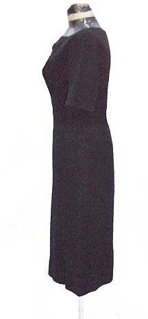 50's black knit dress
