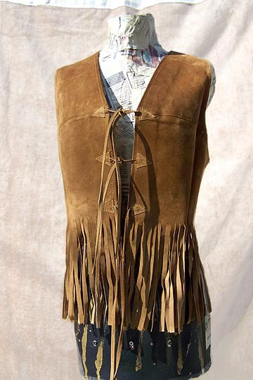 Vintage Spanish fringed suede vest, late 1960s to mid 1970s | deadlyvintage.com :  suede dress boho brown