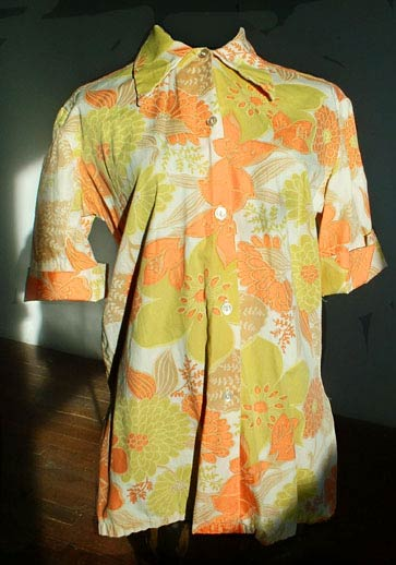 vintage 60s barkcloth shirt