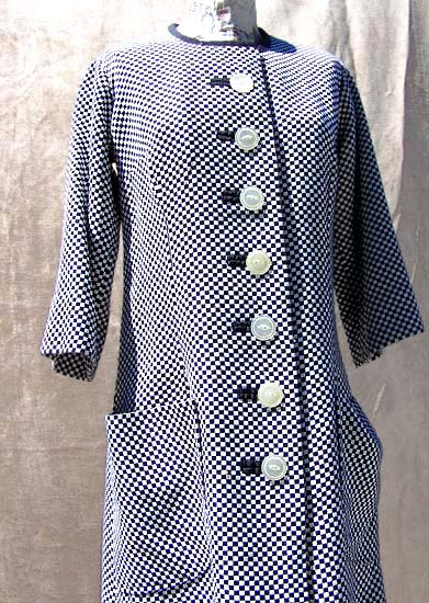 vintage 60s navy & white dress