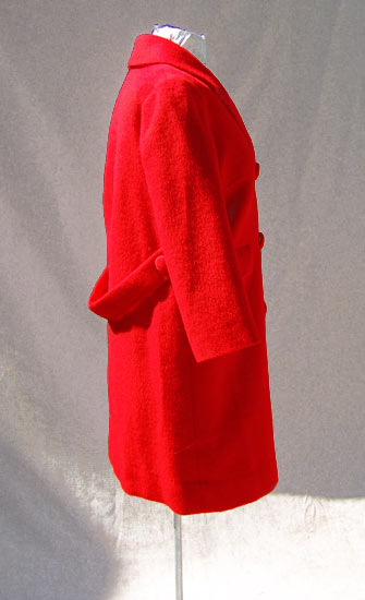 vintage 50s rockabilly red wool coat