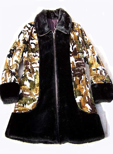 vintage 60s tapestry carpet fur coat